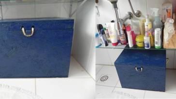 DSCN2307 - Mudando a cor do meu baú de compensado...