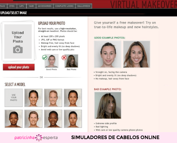 Simulador Taaz Virtual Make Over 621x500 - Simulador de Cabelo: Corte e Cor