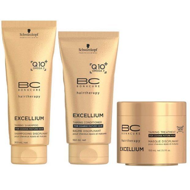 Schwarzkopf Bonacure Excellium Taming Kit Shampoo 200ml Condicionador 150ml e Mascara 150ml  621x621 - Fios envelhecidos e sem vida - Como Cuidar?