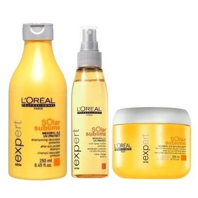Loreal Expert Solar Sublime Kit Shampoo 250ml M scara 200ml e Leave in Spray UV Protect 125ml  - Cabelos Estragados no verão? Nunca Mais!