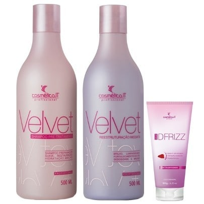 Cosmetica IT Velvet Kit Shampoo Preparador 500ml Reconstrutor 500ml e DFrizz 180g  - Velvet Desemborrachador Cosmética IT