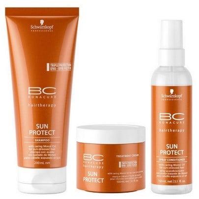 Schwarzkopf Bc Bonacure Sun Protect Shampoo 200ml Mascara 150ml e Leave in 150ml  - 4 produtos de cabelo para o verão passar numa boa