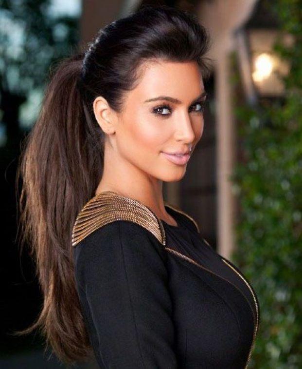 Kim kardashian ponytail glamour hairstyle clip in straight wrap around drawstring brazilian hair ponytails.jpg 640x640 - Penteados Verão 2018 Tendências