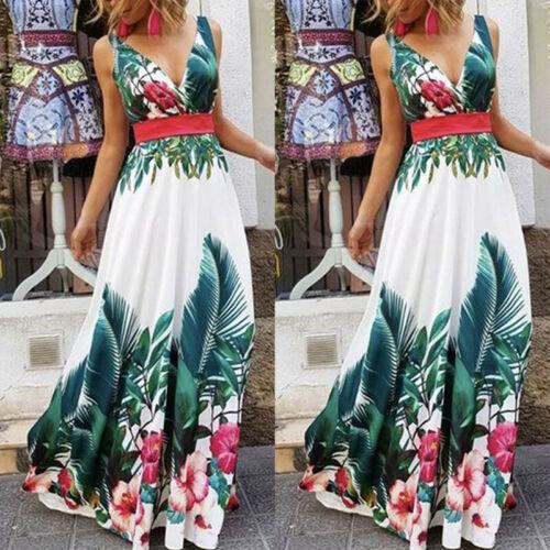 Senhora f rias de ver o floral praia boho maxi v pesco o vestido de impress - Vestidos Estampados 2020: 70 Looks Inspirações, Trends