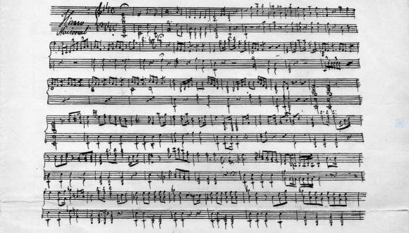 Primera página del manuscrito del Himno Nacional Argentino, atribuido a Blas Parera.
