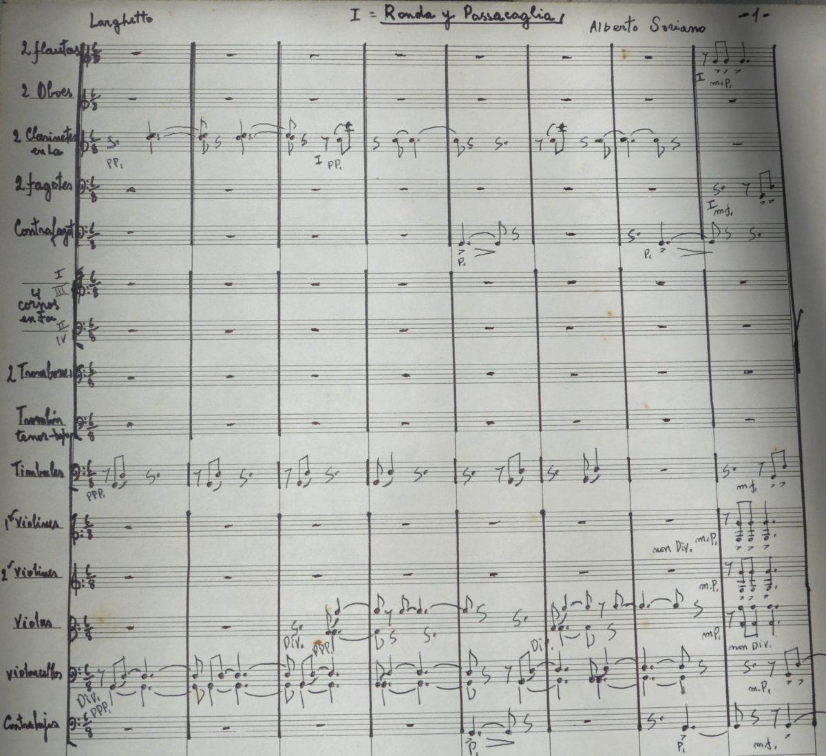 """Manuscrito de la primera página de """"Ronda y Passacaglia"""" del """"Ciclo de los Valles Calchaquíes"""""""