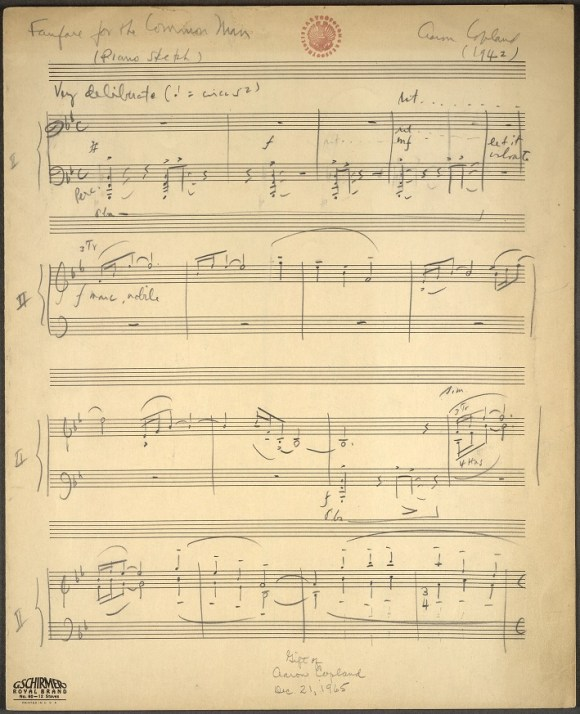 Manuscrito de la reducción para piano de la Fanfare for the Common Man de Aaron Copland (fuente: Librería del Congreso, USA)
