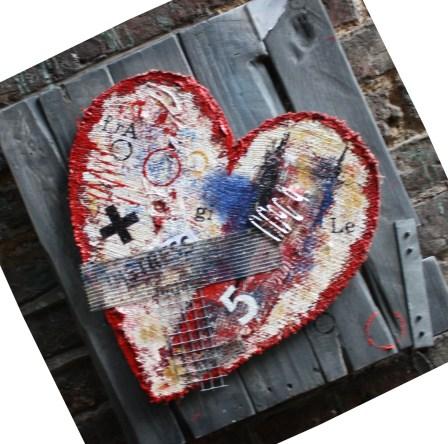 fragile heart : canvas on wood