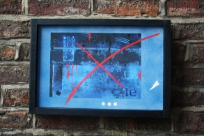 The submersion of care : wall art against red brick