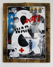Splat! collage and painting on metal