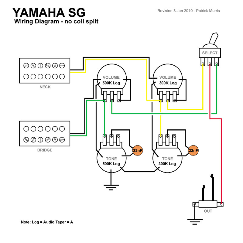 wiring diagram for epiphone sg special