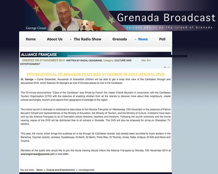 Broadcast Grenada avec l'Alliance Française