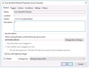 ShareFile Antivirus Scheduled Task - General Tab