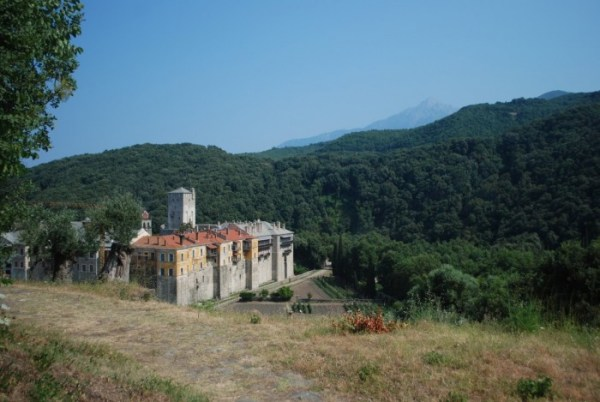 The monastery of Iviron and, behind it, Mount Athos