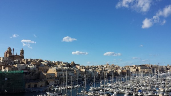 Malta in January: the fortified city Senglea seen from Birgu (Vittoriosa)