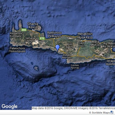 Triopetra on a map of Crete
