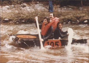 John Winters, Jan Egan Creba and Peter Lawson after the boat had lost the stern.