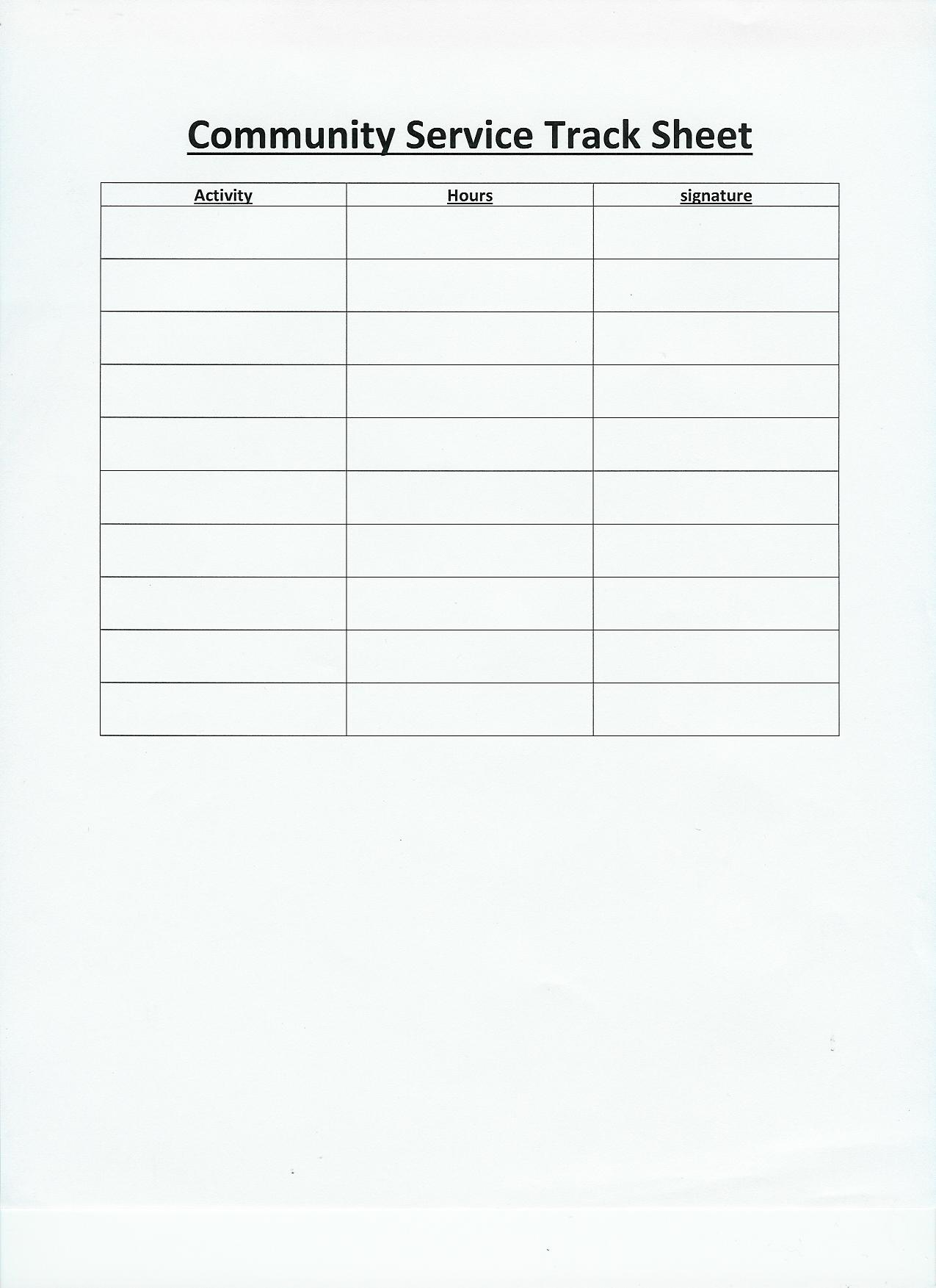 Free Printable Volunteer Log Sheets