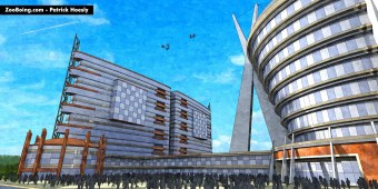Loose 3D illustration of a proposed Football, Hotel, and Retail complex