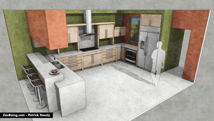 3D illustration of kitchen