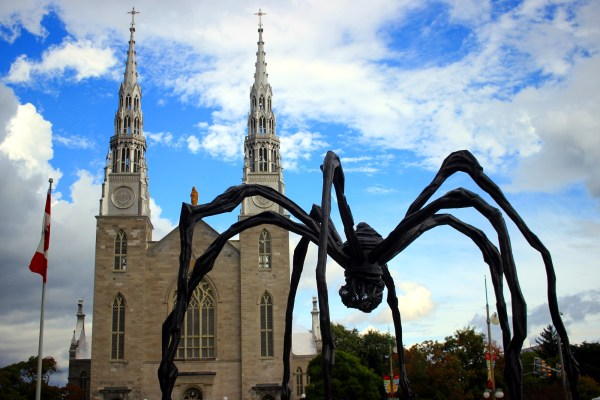 Maman, the spider, with Notre-Dame Cathedral Basilica behind