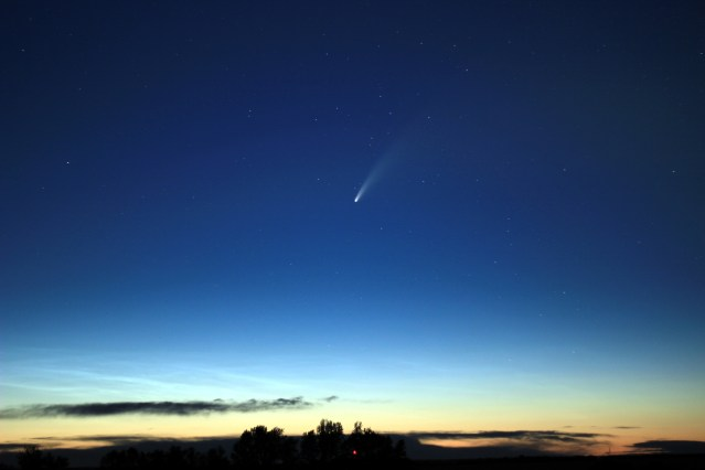 The comet above a bluff of trees