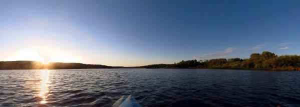 Panoramic view of Lake Minnedosa from a kayak