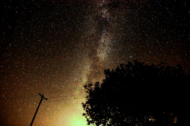 The Milky Way, a tree, and a telephone pole