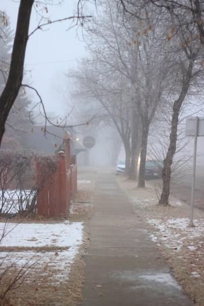 Foggy sidewalk