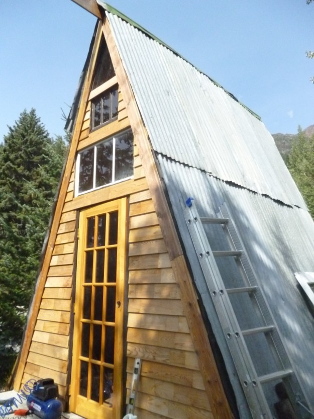 The A-frame with cedar siding - finally.