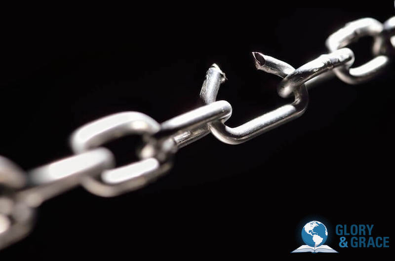 Freedom in His presence image showing broken chains