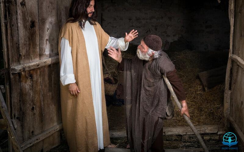 Divine healing showing Jesus praying for a man