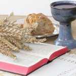 What is a devotional showing an image with the Bible and a cup