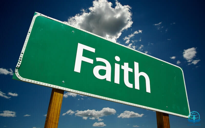 faith is the substance of things hoped for showing a sign post with the word faith