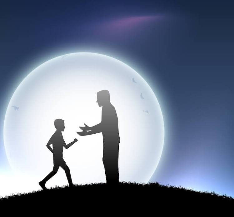 God's adoption showing a father receiving a child running to him