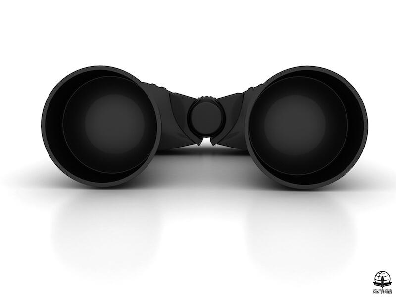 Seeing Jesus showing binoculars