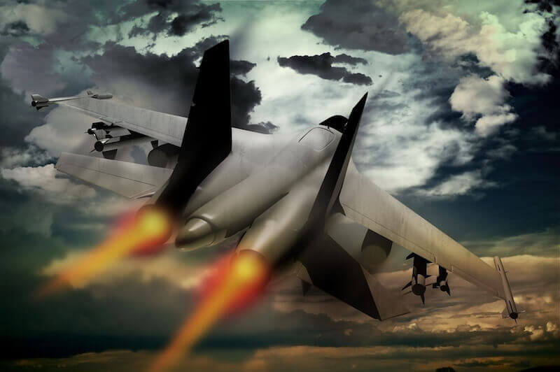 The violent take it by force showing a fighter jet