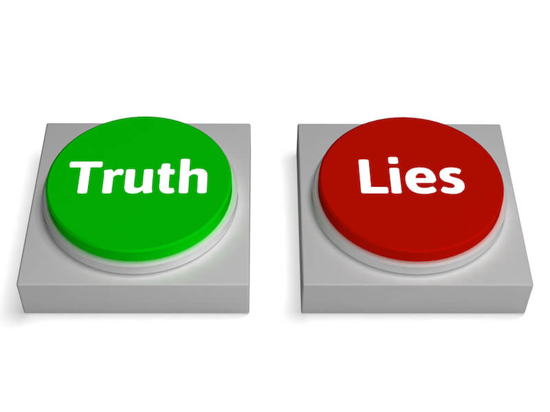 What is truth showing the letters of truth and lies