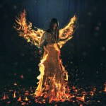 Holy Spirit fire showing a woman on fire