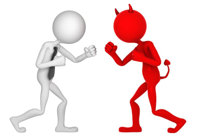 satan battling with a man