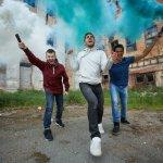rebellions of Korah showing three guys in riot