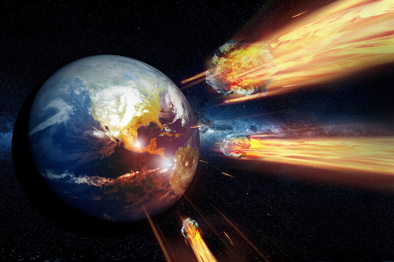 endgame showing the earth and meteorites coming against it