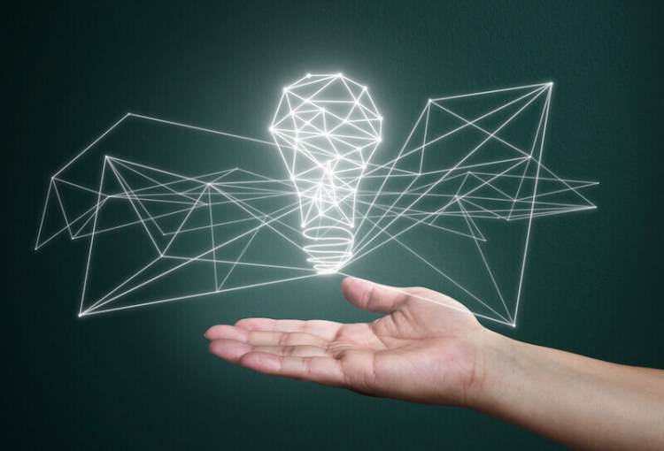 able to do above all we ask or think showing a man holding the image of a light bulb