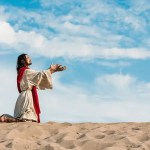 he withdrew himself into the wilderness showing Jesus in the desert praying