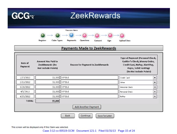The court-appointed receiver in the Zeek Rewards Ponzi scheme case has proposed an electronic-filing process for claims. Pictured above is one of the screens from a preliminary mock-up.