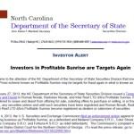 UPDATE: North Carolina Says Profitable Sunrise Investors Have Been Targeted In 'Reload Scams' Like Zeek Rewards Investors Before Them