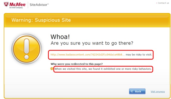 """McAfee SiteAdvisor warning about """"badass"""" domain. Red highlights by PP Blog."""