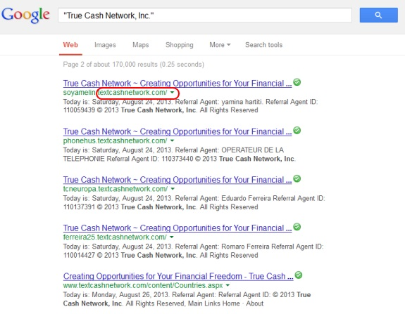 """These links shown in Google search results are show the name of """"textcashnetwork"""" in the URL. But all of them rotate to True Cash Network."""