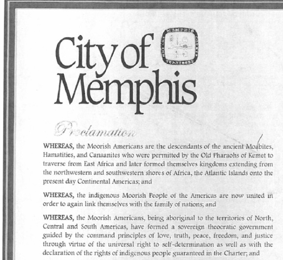 "Memphis has rescinded this 2012 proclamation that suggests a ""sovereign theocratic government"" independent of the existing governments of the Americas had been formed."