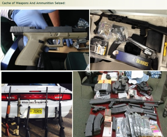 "Weapons seized during the probe of purported ""sovereign citizen"" Eric Holtgard in the region of Tampa, Fla."